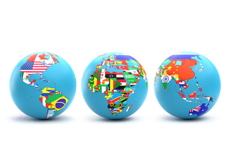 3D rendering of three World globes with continents and their countries with superimposed national flags on white background Stock Photo