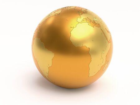 3D rendering of golden World globe on white background