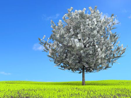 3D rendering of one hundred dollar tree growing on green grass meadow Stock Photo