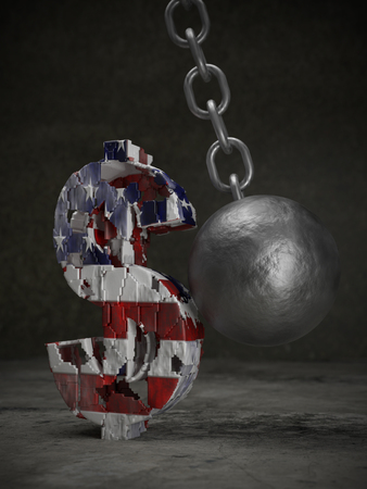 3D rendering of American dollar symbol being hit and destroyed by large metal wrecking ball
