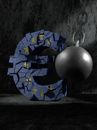 3D rendering of a Euro symbol being hit and destroyed by a large metal wrecking ball Stock Photo
