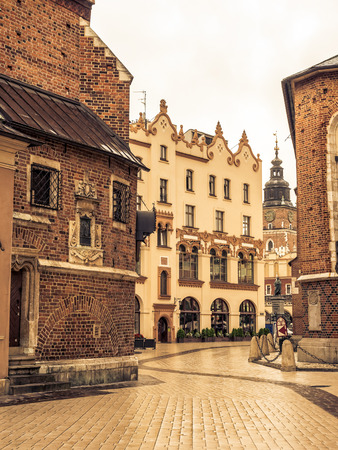 Mariacki Square, with view to Town Hall and Adam Mickiewicz monument, Krakow, Poland Stock Photo