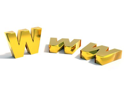 3D rendering of three golden WWW Internet acronym over white background Stock Photo