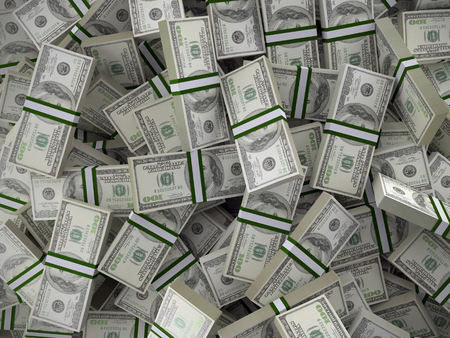Background of pile of 100 dollar bill wads Stock Photo