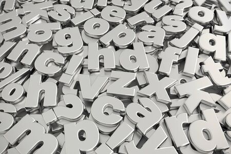 3D rendering of pile of gray metallic lower case alphabet fonts shot from above Stock Photo