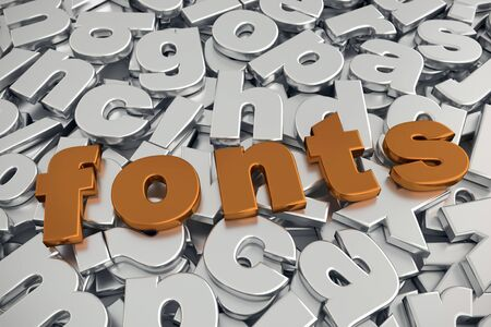 3D rendering of Fonts word in metallic copper color on pile of gray metallic alphabet fonts Stock Photo