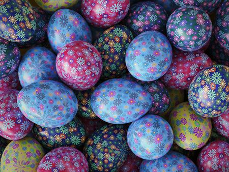 3D render of background of colorful easter eggs with floral patterns Stock Photo