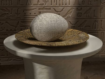 3D rendering of ancient Egyptian egg with hieroglyphs on old plate against the wall with hieroglyphs