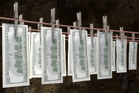 3D render of one hundred dollar banknotes hanging on laundry line attached with wooden clothes pegs against dark brown wall