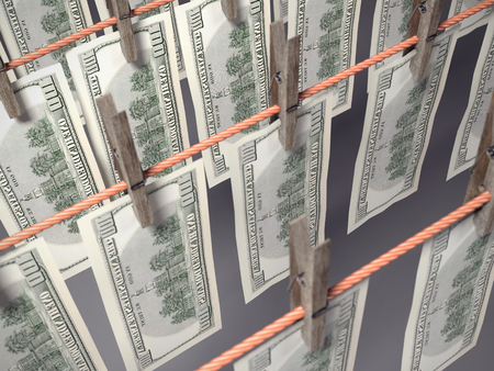 3D render of one hundred dollar banknotes hanging on laundry line attached with wooden clothes pegs shot from above
