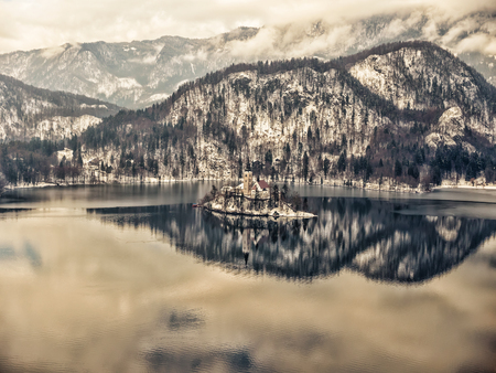 Lake Bled with the Pilgrimage Church of the Asumption of Maria on Bled island, Slovenia, Europe