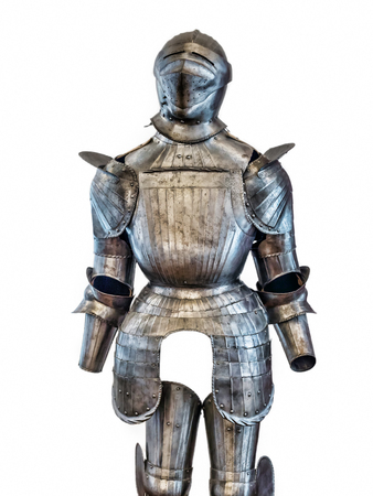 Medieval knight armor suit shot on white Stock Photo