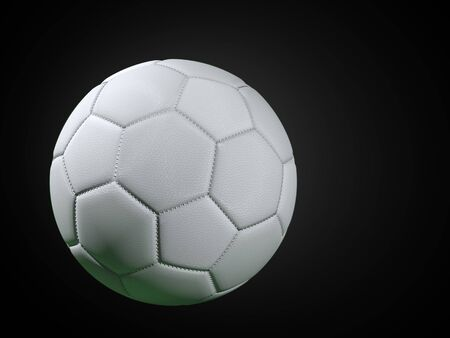 3D rendering of white soccer ball over black background Stock Photo
