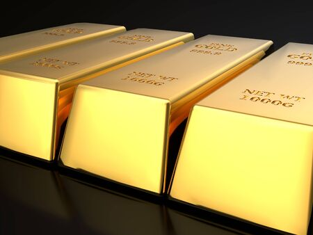 3D rendering of row of fine gold ingots on black surface