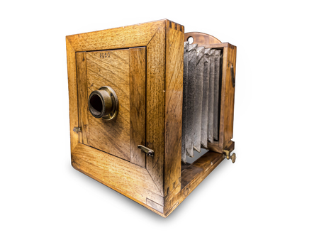 Vintage wooden box daguerreotype apparatus shot on white