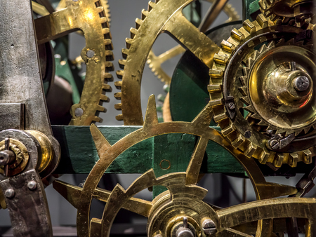 Giant brass clock cogwheel mechanism Stock Photo