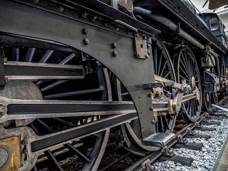 PRAGUE, CZECH REPUBLIC - MARCH 8 2017: Steam locomotive in the National Technical Museum of Prague, housing historical transportation exhibits
