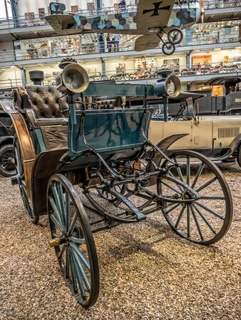 PRAGUE, CZECH REPUBLIC - MARCH 8 2017: Oldtimer Benz Victoria 1893 in the National Technical Museum of Prague, housing historical transportation exhibits