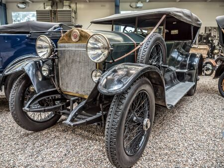 PRAGUE, CZECH REPUBLIC - MARCH 8 2017: Oldtimer Laurin & Klement RK-M, manufactured between 1913 and 1921, showcased in the National Technical Museum of Prague, housing historical transportation exhibits