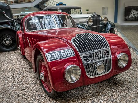 PRAGUE, CZECH REPUBLIC - MARCH 8 2017: Red oldtimer Jawa 750, from 1935, showcased in the National Technical Museum of Prague