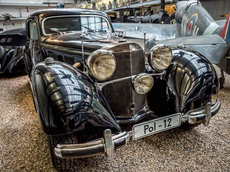 PRAGUE, CZECH REPUBLIC - MARCH 8 2017: Oldtimer Benz 540 K, from 1939-1942, showcased in the National Technical Museum of Prague