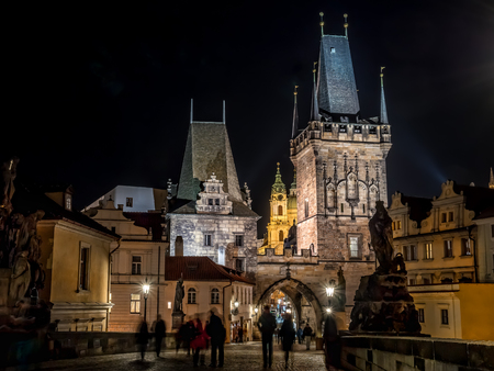 Charles Bridge at nighttime, Prague, Czech Republic Stock Photo