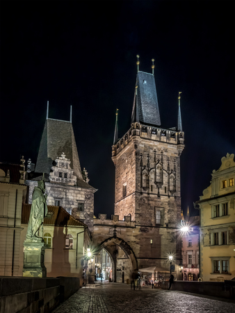 Charles Bridge at nighttime, Prague, Czech Republic Editorial
