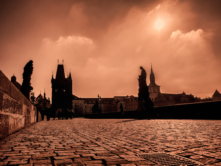 Charles Bridge at the sunrise with vintage look, Prague, Czech Republic Stock Photo