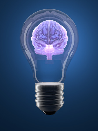 3D render of translucent human brain inside lightbulb - conceptual shot Stock Photo