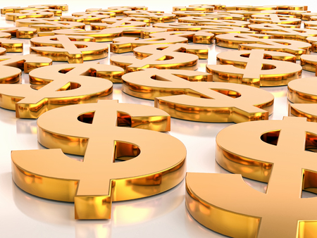 3D rendering of many golden USD currency symbols lying flat on white surface