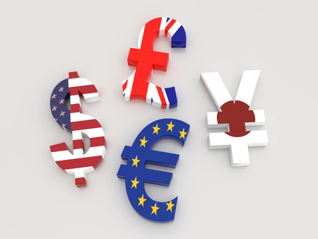 3D rendering of USD, Euro, Yen and British Pound currency symbols wrapped around with national flags on white background Stock Photo