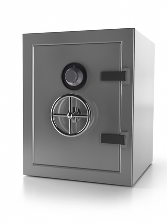 3D render of metal strongbox with locked doors isolated on white