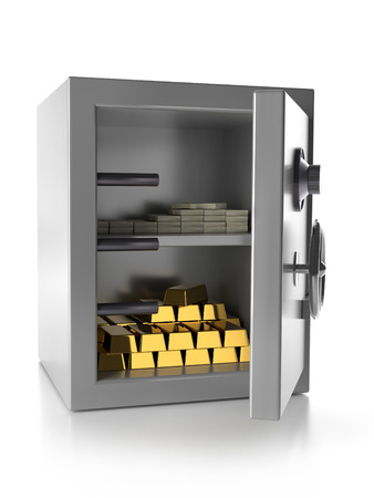 3D render of unlocked strongbox with gold bars and pile of US dollar banknotes isolated on white
