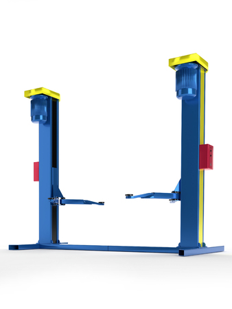 3D render of car repair lift on white background