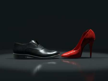 3D render of black leather male and female red high-hilled shoe placed opposite each other on black background Stock Photo