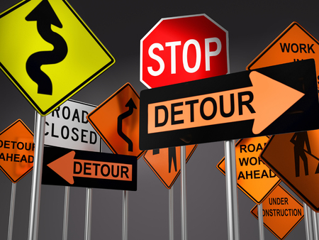 3D render of set of various American road construction signs against dark gray background