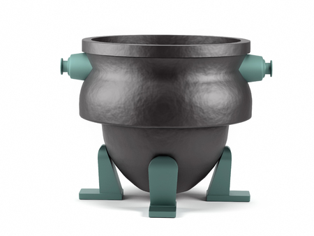 3D rendering of metallurgic chill pot model on white background 版權商用圖片
