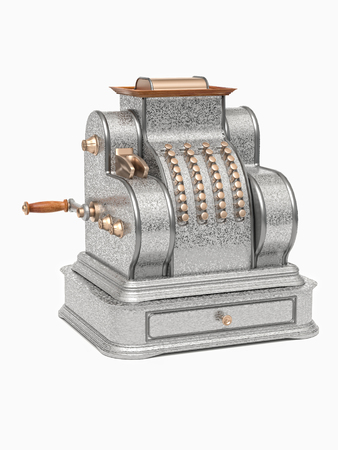 3D render of vintage metal cash machine on white background Stock Photo