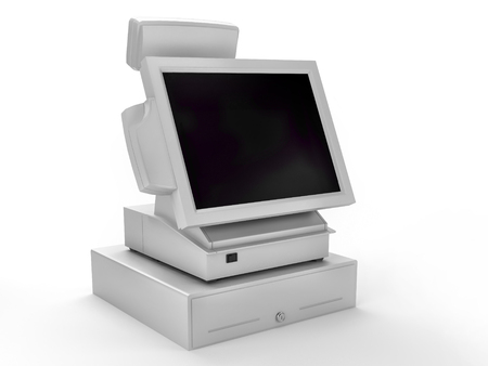 3D render of electronic cash register on white background