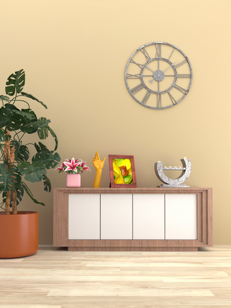 3D render of modern interior with wooden locker, house plant and various decors