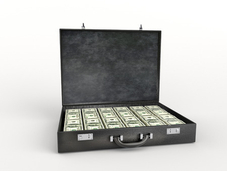 3D render of black leather briefcase stuffed with one hundred dollar bills over white background Stock Photo