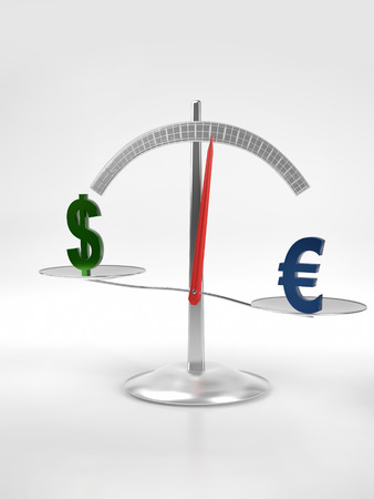 3D render of Euro and Dollar signs put on metal scales on white background