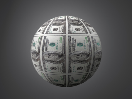 3D render of sphere wrapped around by USD dollar bills on gray backgroud Stock Photo