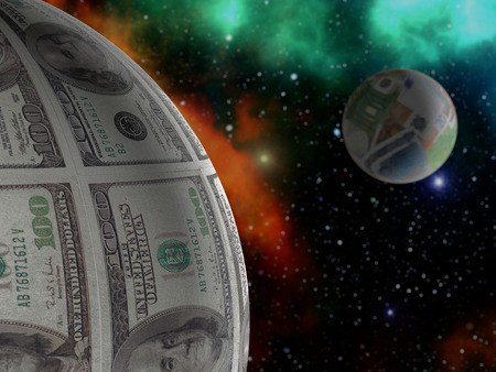 3D render of US Dollar and Euro spheres as planets in outer space
