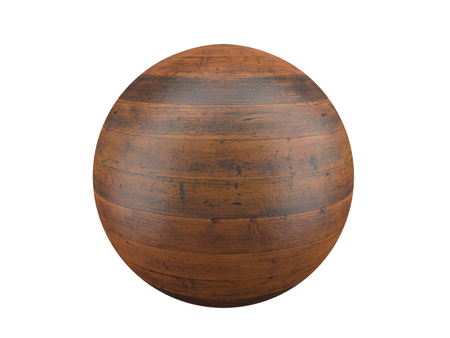 3D render of wooden plank sphere on white