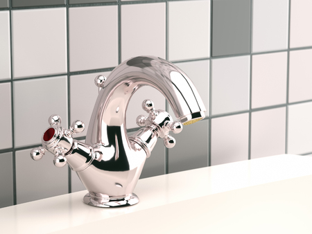 3D render of a modern chrome washbasin faucet