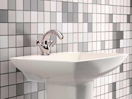 3D render of modern bathroom washbasin with chrome faucet and tiled wall and floor