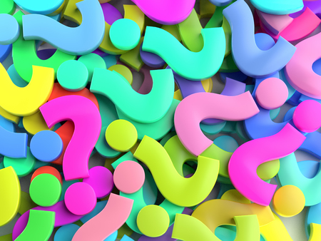 3D rendering of colorful Question Mark signs Stock Photo