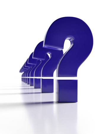 3D rendering of dark blue Question Mark signs in a row on white background