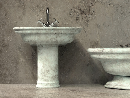 3D render of Ancient style bathroom with washbasin and bath tub